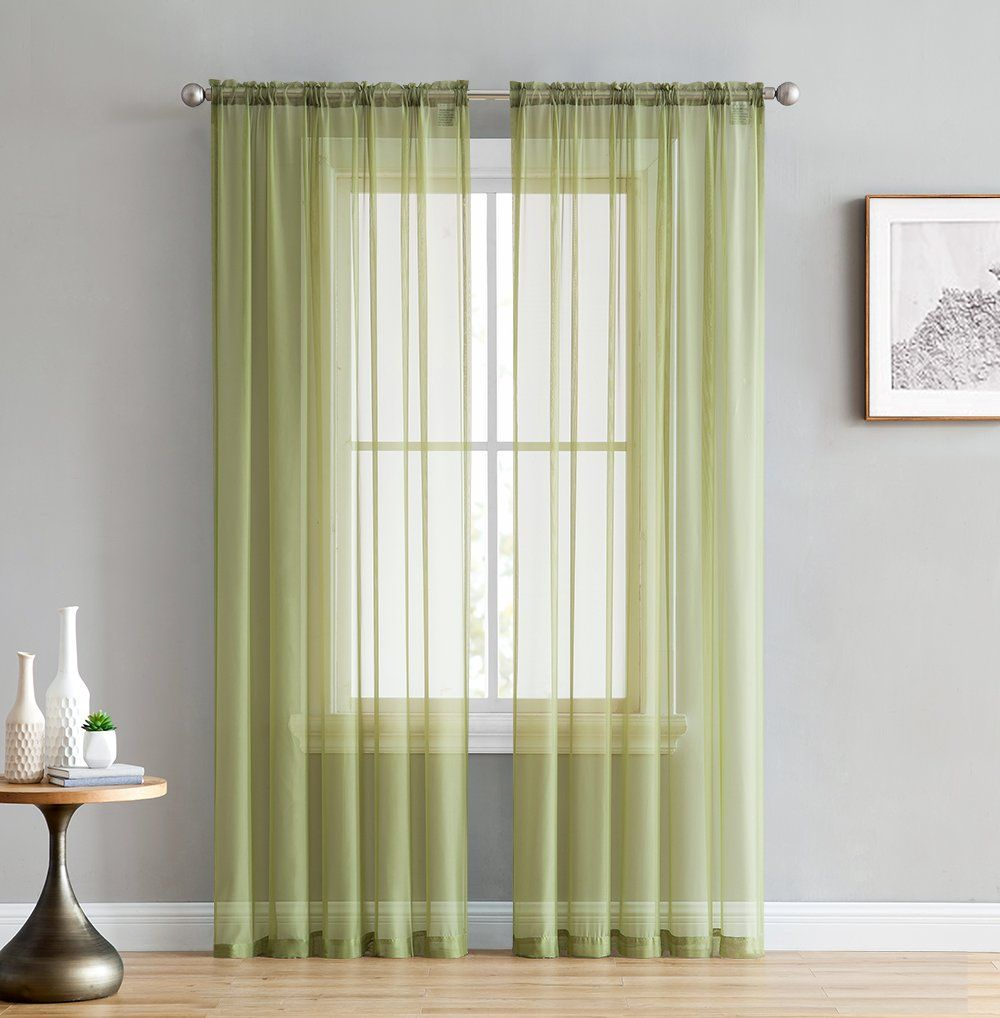 Hlcme Sage Green 2 Pack 55 Inch By 84 Inch Window Curtain Sheer