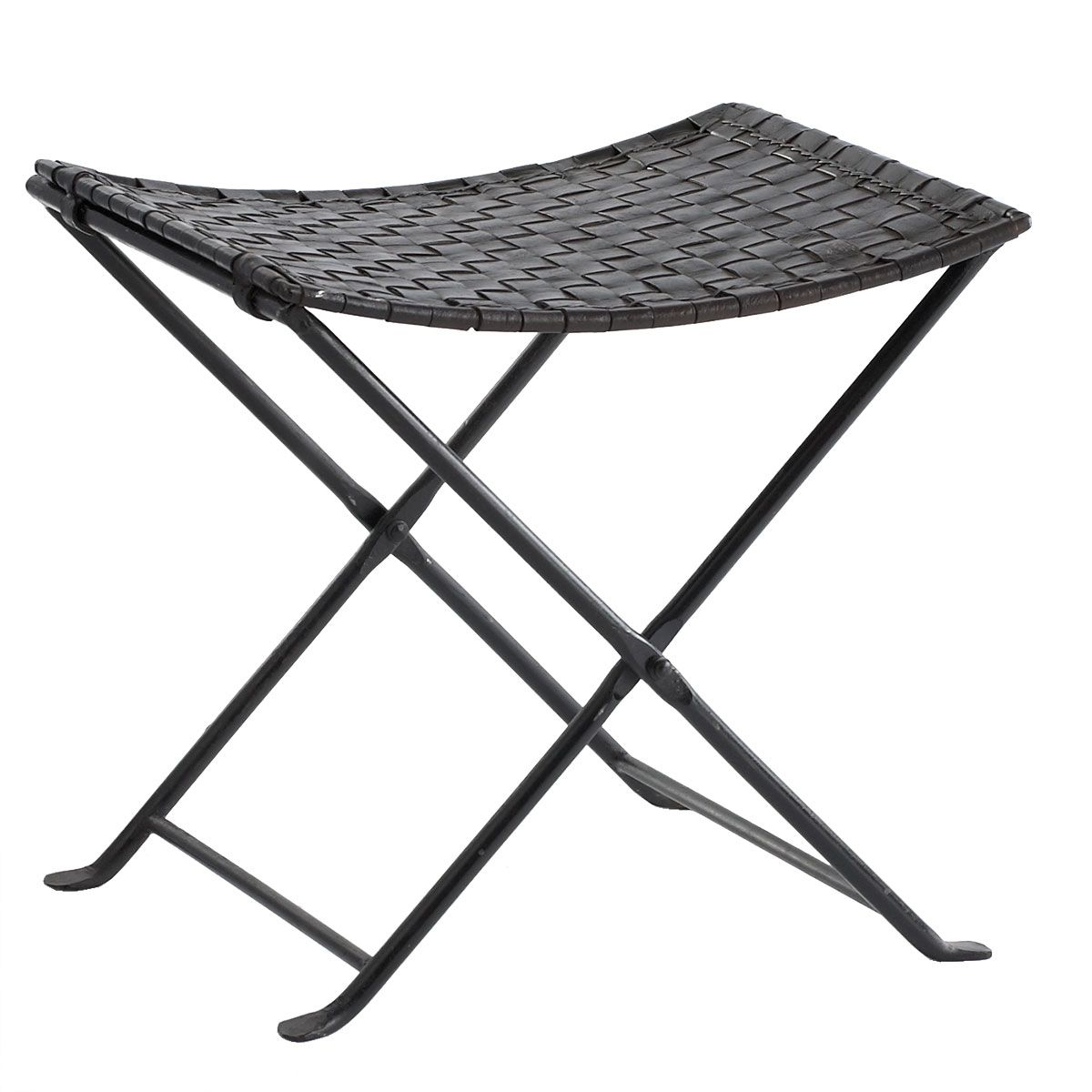 Strange Woven Leather Folding Stool 169 Dimensions 19W X 16D X Pabps2019 Chair Design Images Pabps2019Com