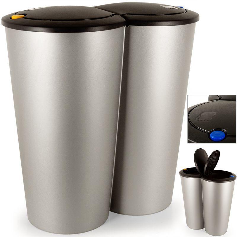 Double Poubelle 2x25 Litres Poubelle Duo Pour Tri Selectif Recyclage Bouton Poussoir Automatique 50x53cm In 2020 Kitchen Baskets Garbage Can Trash Bins