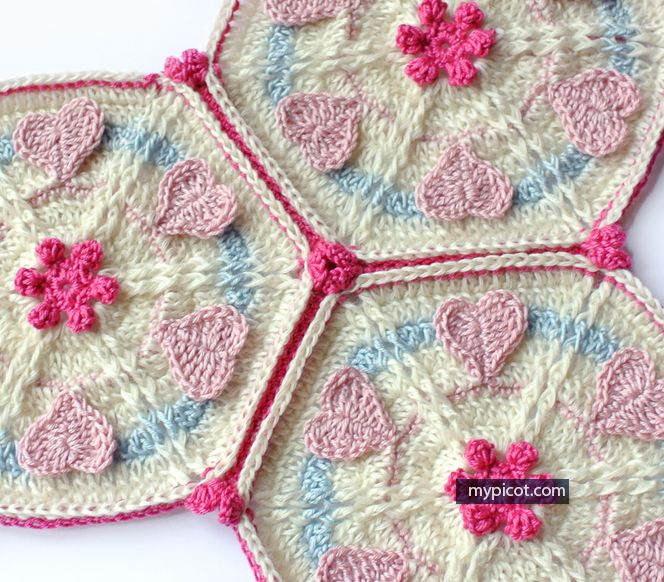Crochet Hexagon Heart motif for blanket: Diagram + step by step ...