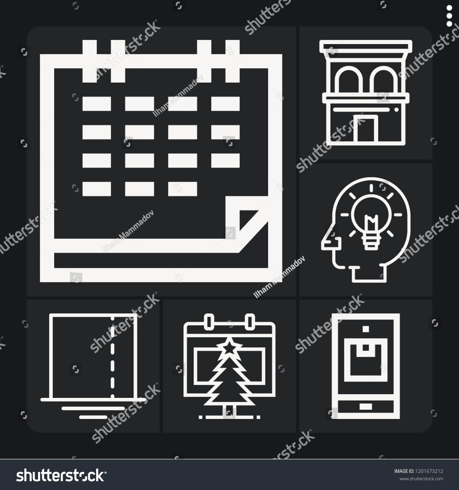 Set of 6 business outline icons such as calendar, square