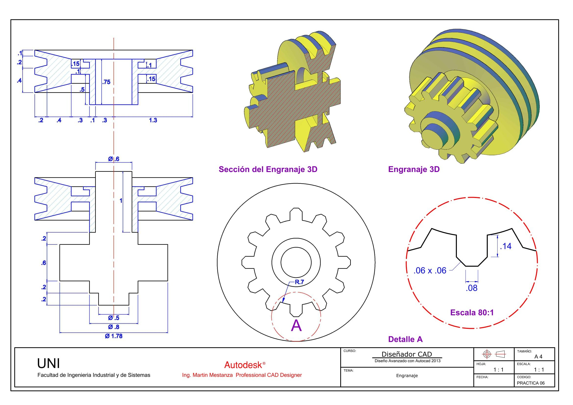 Engranaje Plano Detalle By Ing Martin Mestanza Autocad Isometric Drawing Mechanics Drawing Sketches Interesting Drawings