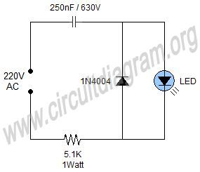 simple 220v mains indicator led circuit diagram rh pinterest com