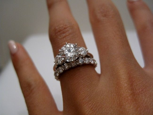 Three ring wedding and engagement rings