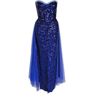 Preowned 1950\'s Seductive Royal-blue Sequin Rayon-crepe Strapless ...