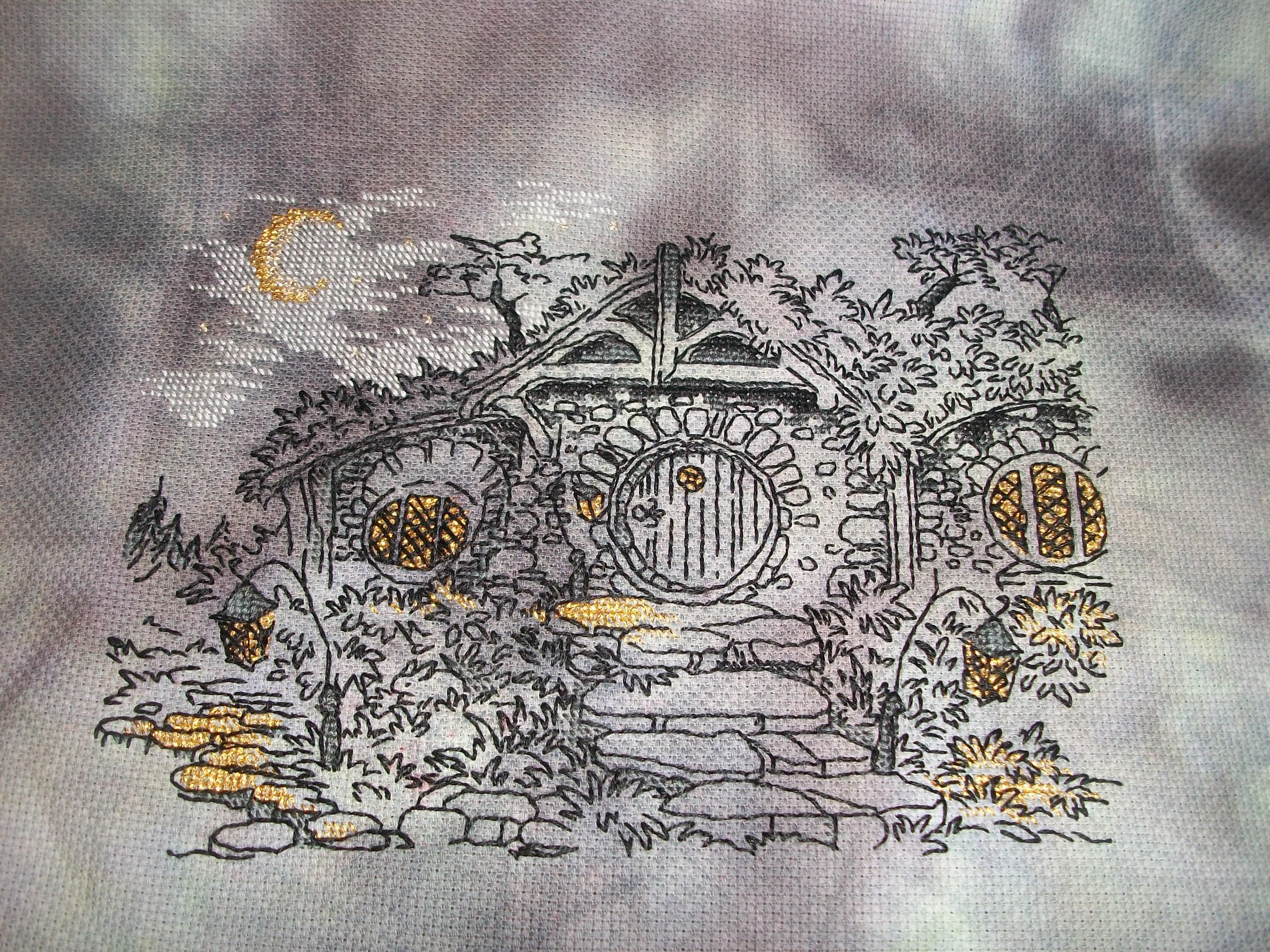 DIY Chart Counted Cross Stitch Patterns Needlework Cottage in the Woods