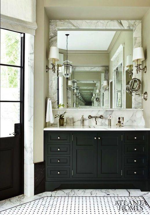 Atlanta Homes Lifestyles Glam Bathroom With Marble Tiles Floor
