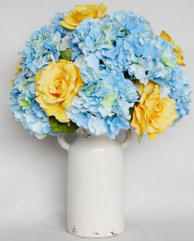 Silk flower arrangement yellow roses blue hydrangea cream vase silk flower arrangement yellow roses blue hydrangea cream vase artificial flower arrangement dhlflorist Gallery