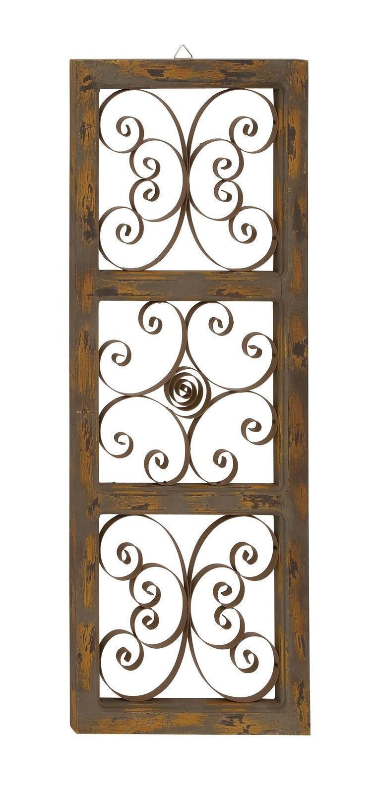 Wood And Metal Wall Art metal scrollwork butterfly wood wall art panel country home decor