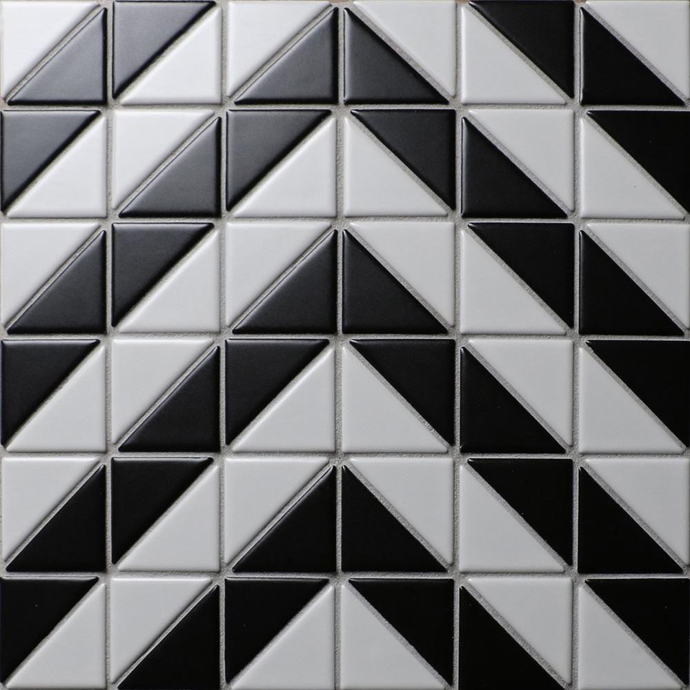 Merola Tile Tre Chevron White With Black 10 3 4 In X 10 3
