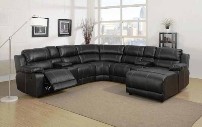 Remarkable Belair Black 7 Piece Sectional Home Hopefuls Reclining Bralicious Painted Fabric Chair Ideas Braliciousco