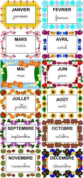 Super récap étiquettes mois … | Ressources maternelle | Pinterest  VY46