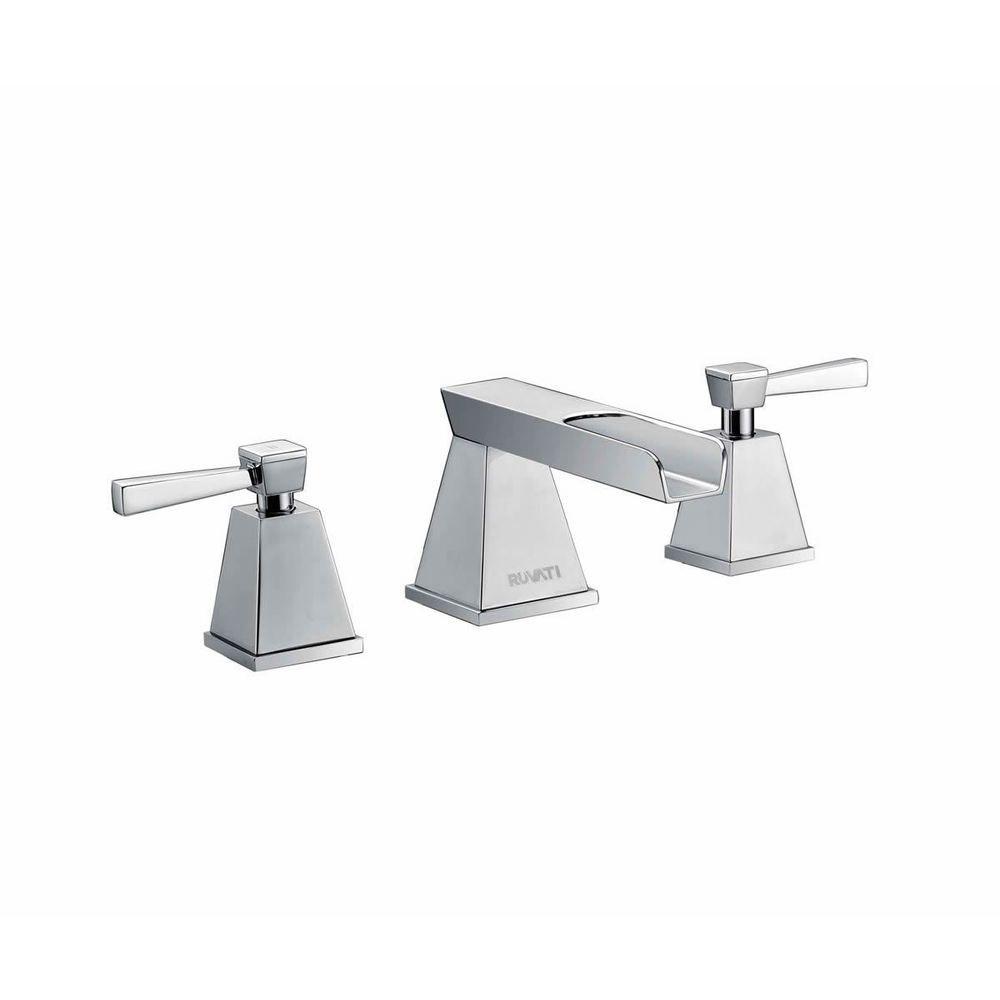 Ruvati Polished Chrome Waterfall Two Handle 8-15-inch Widespread ...