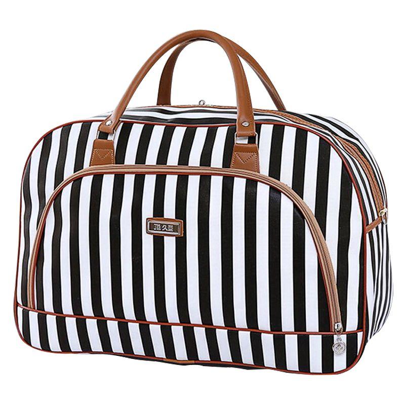 8b17b3b4ee1b Women Travel Bags Waterproof 2016 Fashion Stripe Luggage Packing Cubes Bag  PU Foldable Weekender Leather Travel Bag X042  Affiliate