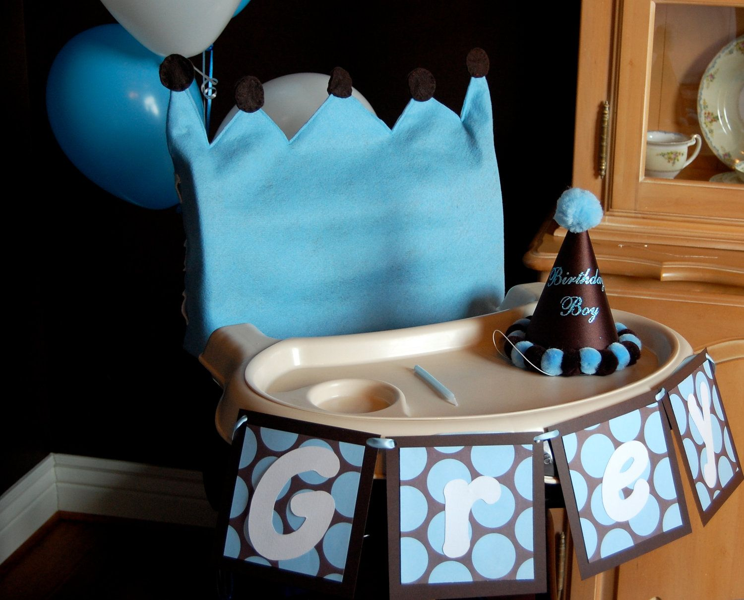 Baby Boy Prince First Birthday High Chair Cover birthday party