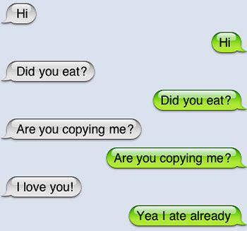 Are you copying me? | Laugh | Funny text messages, Funny text