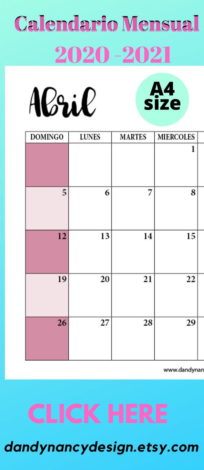 calendario 2020 2021planificador para imprimir etsy in on office wall colors 2021 id=74223