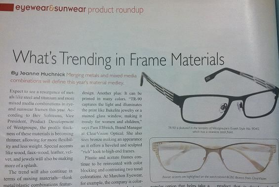 """In the News: BCBG - BCBGMAXAZRIA Bianca featured in """"What's Trending in Frame Materials"""" article in the January issue of VCPN TotallyOptical.com """"Bronze accents are highlighted on the sand-colored BCBG Bianca"""""""