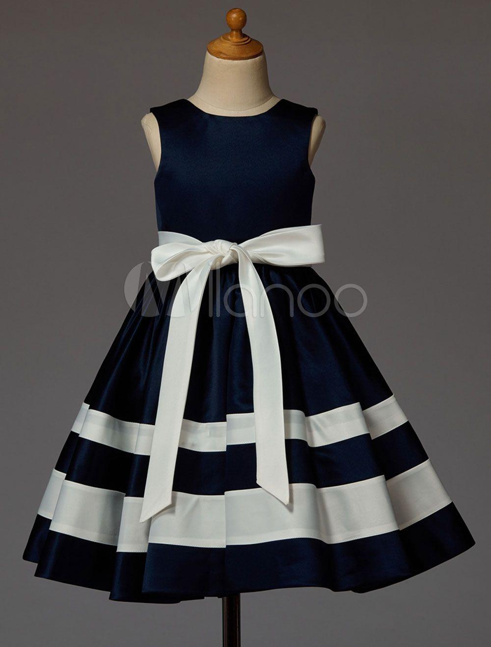 3d824e03bc2d Flower Girl Dresses Dark Navy Plaid Backless Sleeveless Satin Ribbon ...