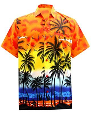 a7d4bebdd La Leela Hawaiian Shirt For Men Short Sleeve Front-Pocket Palm Tree Print  Orange