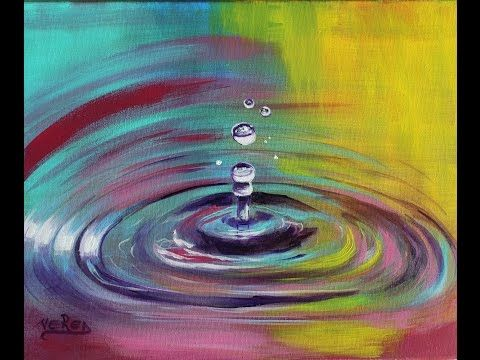 How To Paint Colorful Water Drops Droplets Step By Step
