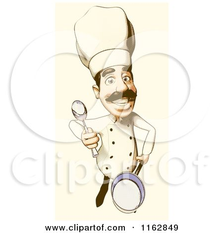 Cuisine Clipart of a Male Cook Holding a Cooking Pot by djart - #366