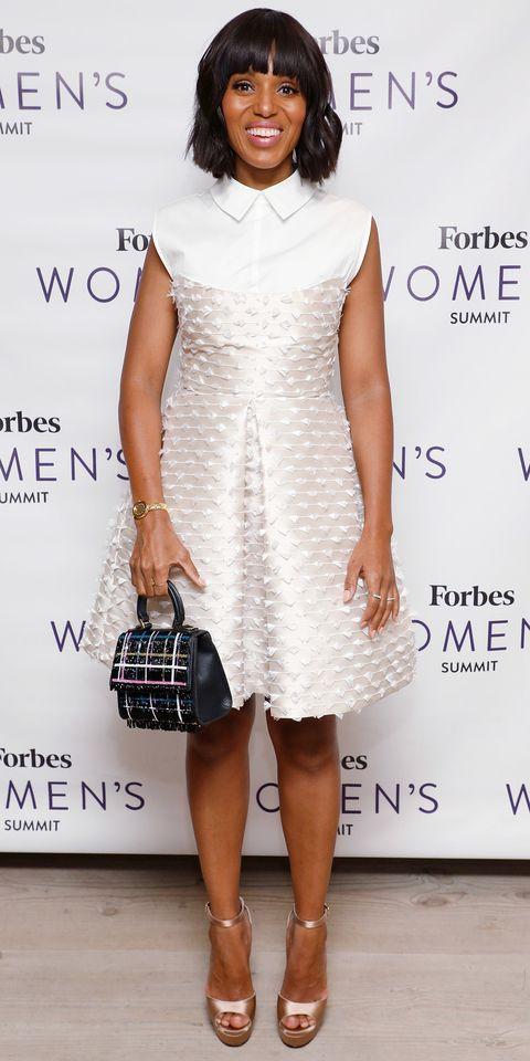 Kerry washington white dress with black applique