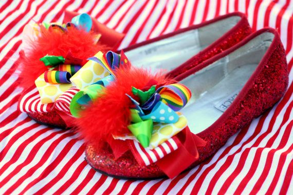 HAIR And SHOE BOWS   Birthday Circus Mad Hatter  by KROWNKREATIONS, $25.99