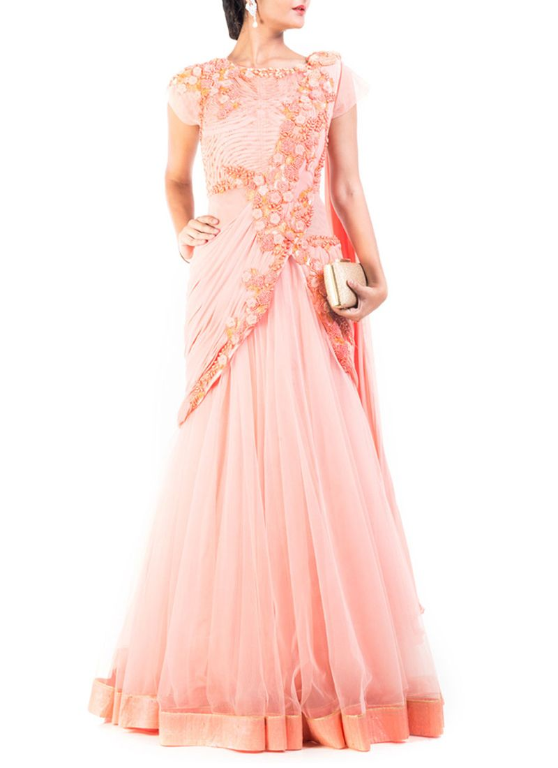 dae2058189 Menlo Park | beautiful Saree | Drape gowns, Peach saree, Saree gown