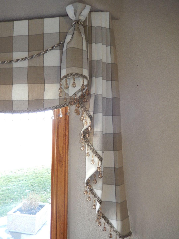 Love The Beaded Trim On This Custom Valance Diy Window Treatments Kitchen Window Treatments Diy Kitchen Window Blinds