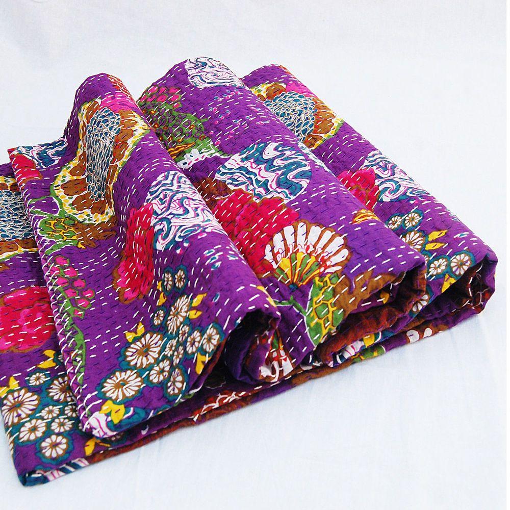 Fruit print kantha quilt Patchwork Vintage Kantha Quilt Hand-Stitched Queen Kantha Throw Floral Recycled Old Sari Cotton Blanket