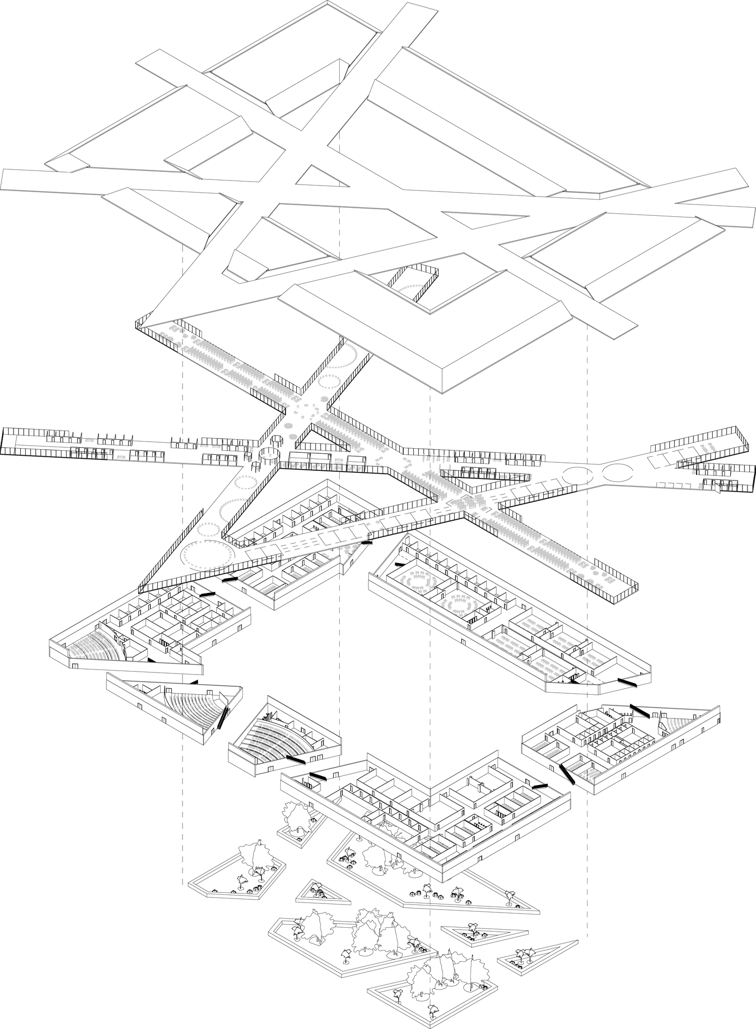 exploded axon diagram football x and o this axonometric works because they layers work