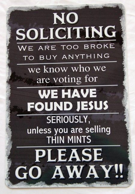 No Soliciting Thin Mints