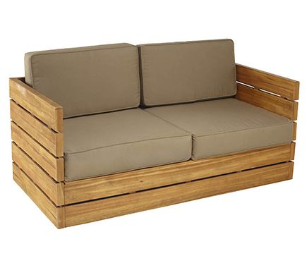 Sof de madera de teca y poli ster montevideo leroy for Sillones de jardin de madera