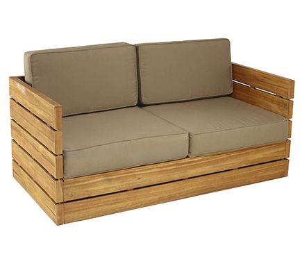 Sof de madera de teca y poli ster montevideo leroy for Sofa exterior leroy merlin