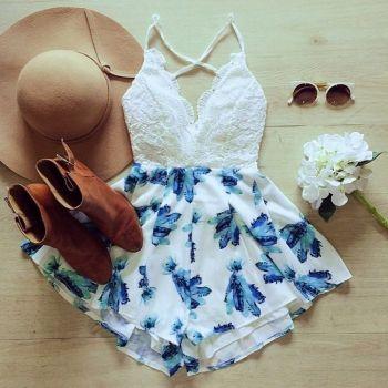Summer Women Lace Splice V-Neck Strap Jumpsuit High Waist Print Backless Loose Short Jumpsuit