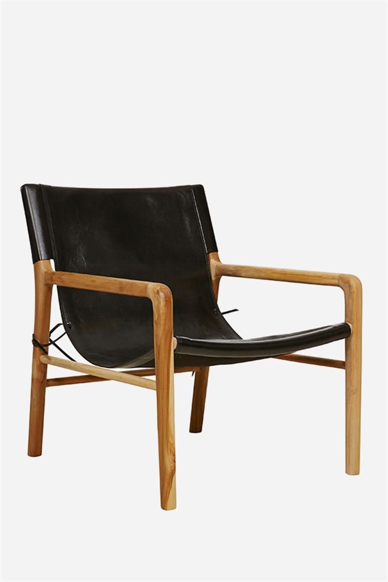 Leather sling chair - Leather Sling Chair Teak Black F F