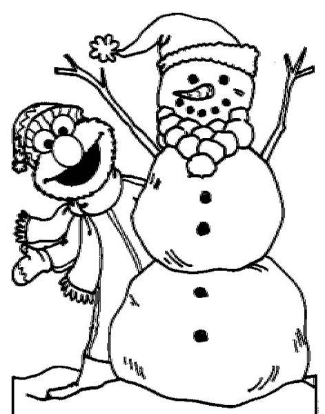elmo with winter snowman coloring picture for kids