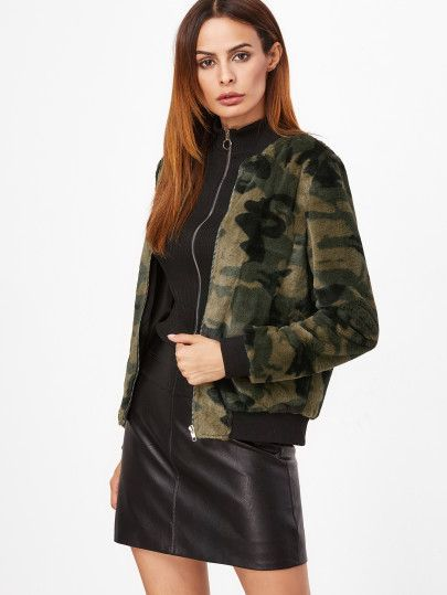 9be21789541ef Olive Green Camo Fluffy Fleece Bomber Jacket | Outfits in 2019 ...