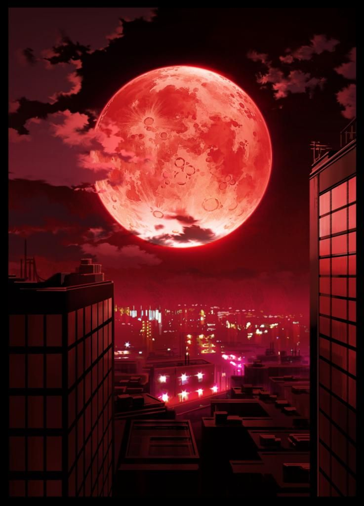 Here We See One Amassing Red Moon Over A City This Is Truly 5 Stars Worthy Anime Scenery Wallpaper
