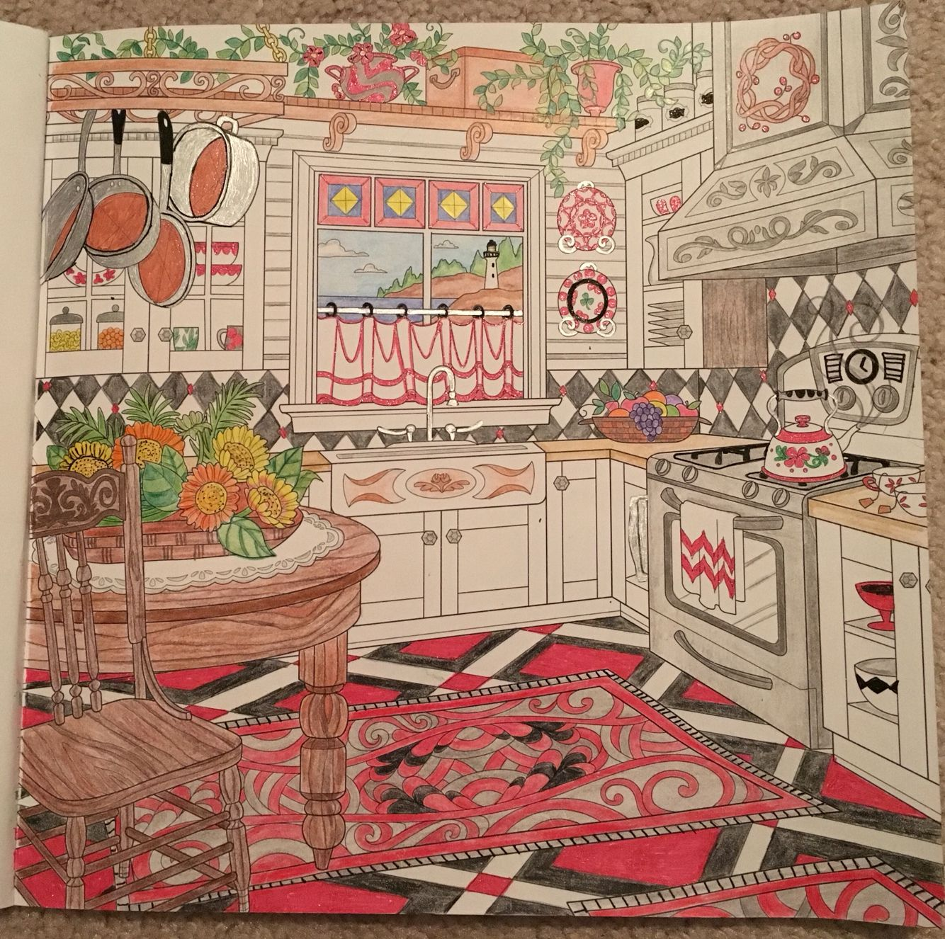 Kitchen - Colored by Cheryl Krumm | Coloring | Pinterest | Kitchen ...