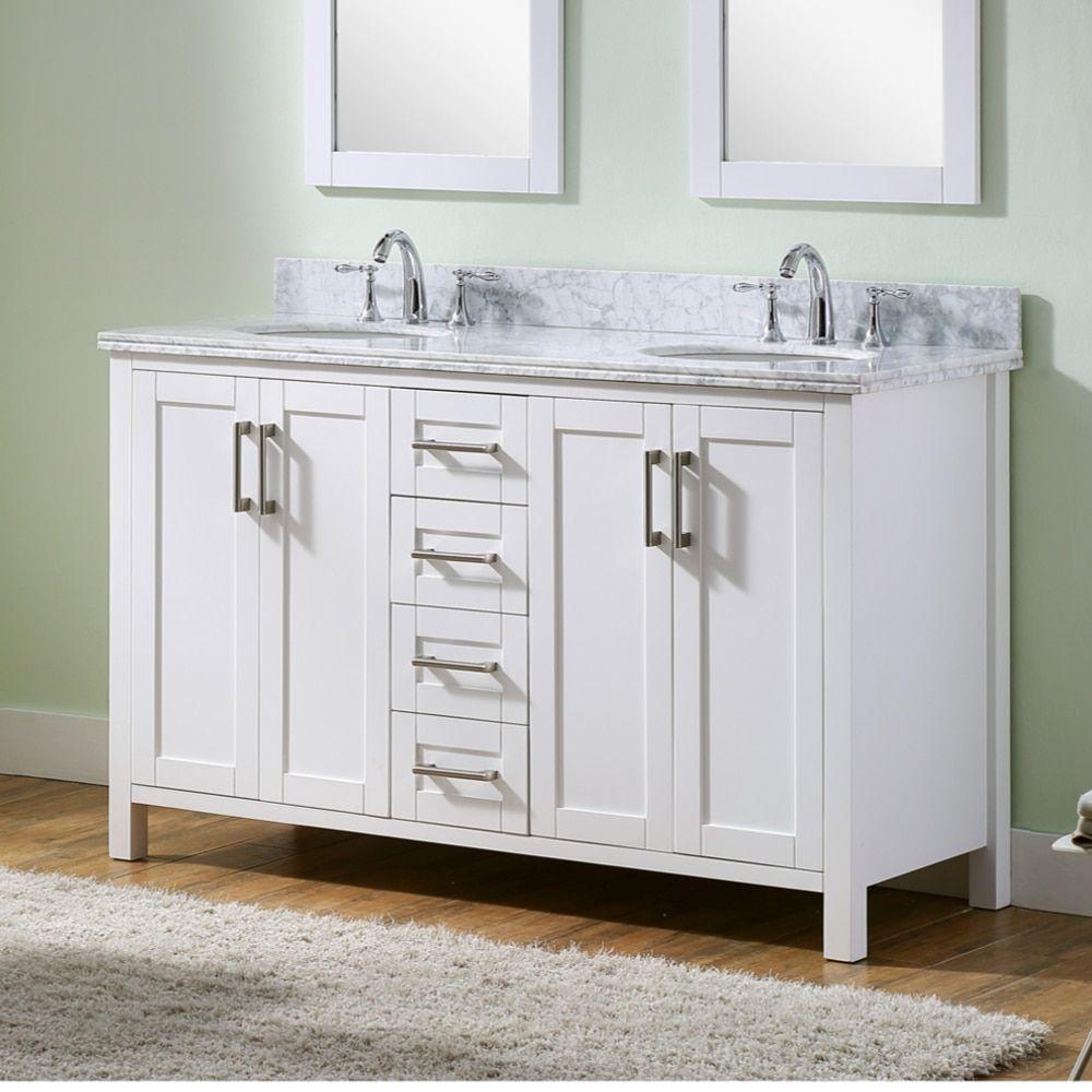 Double sink white bathroom vanities infurniture carrara marblemetalwood doublesink inch bathroom