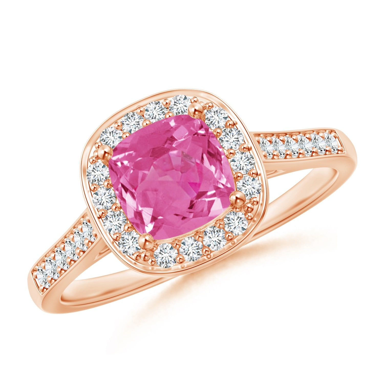 Vintage Diamond Halo Cushion-Cut Pink Sapphire Ring | Pink sapphire ...