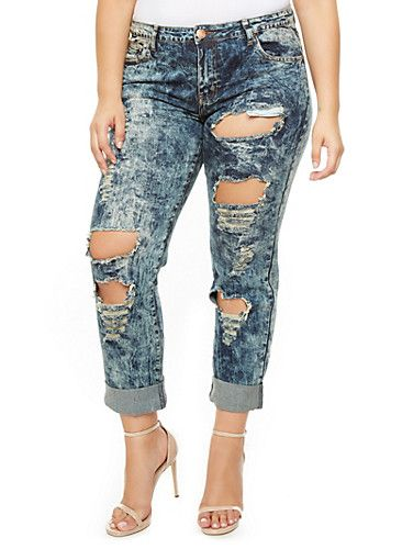 Plus Size Acid Wash Destroyed Denim Boyfriend Jeans