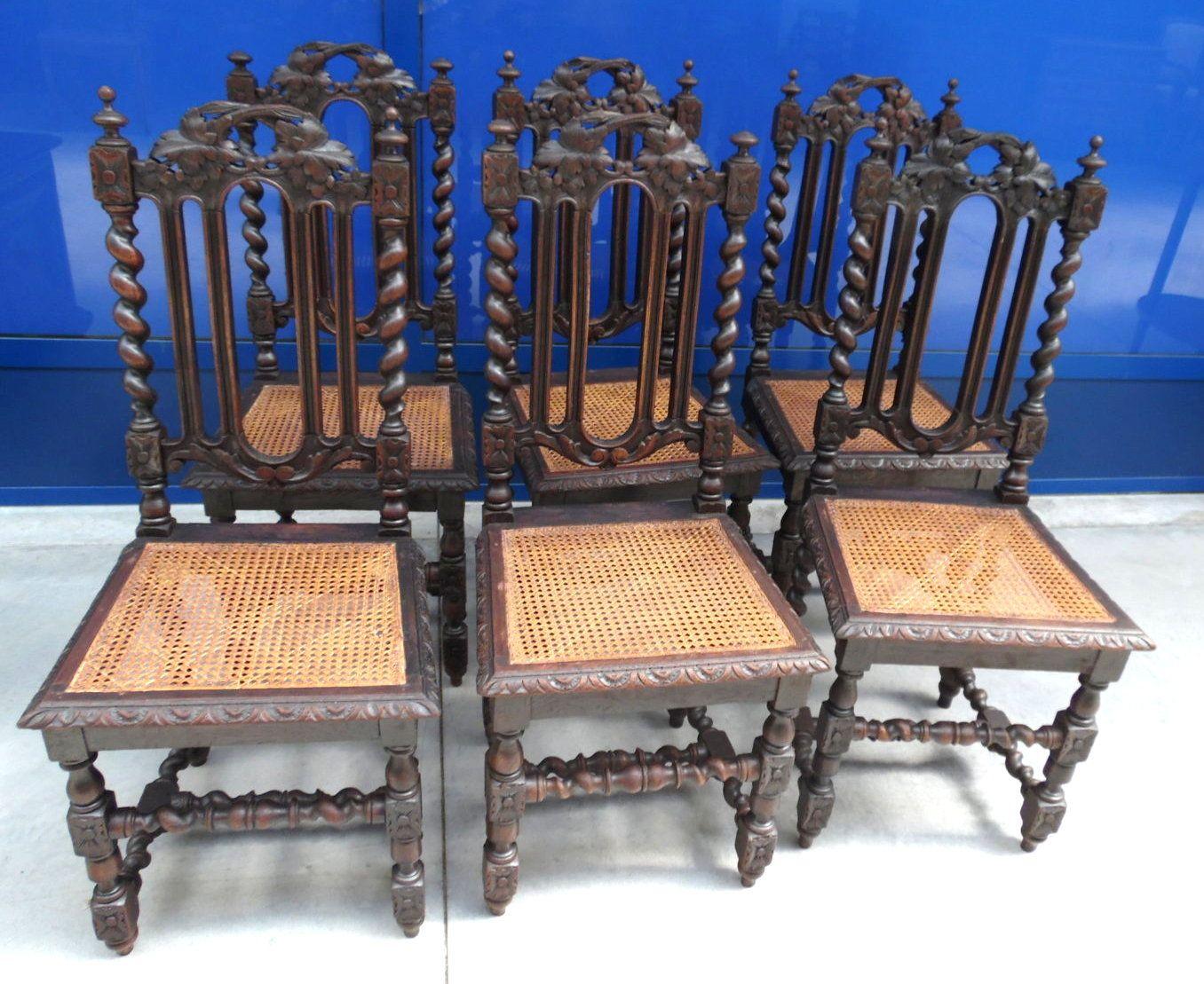 Sedie Antiquariato ~ 6 sedie stile luigi xiii in rovere massello scolpite con seduta