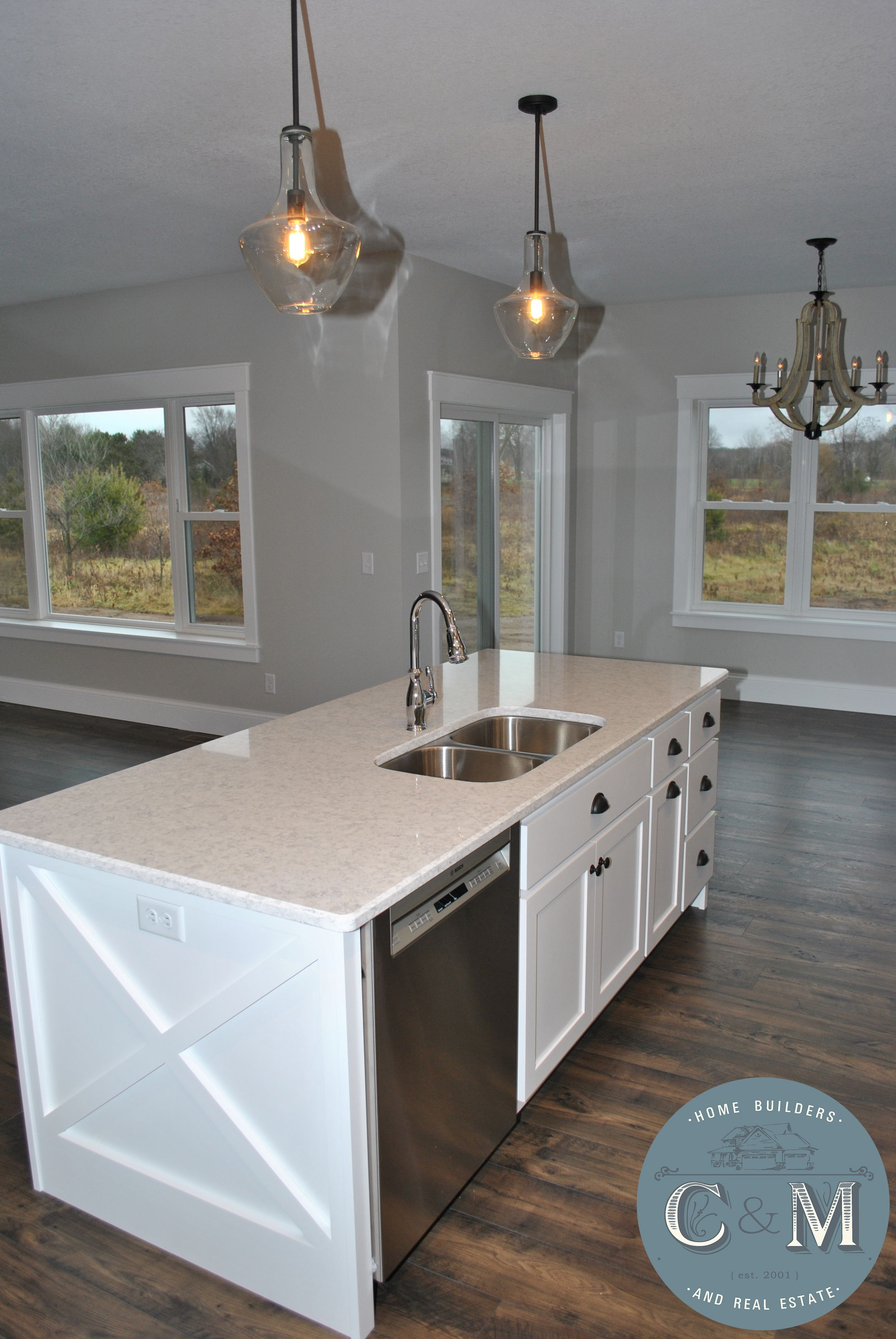 farmhouse style kitchen island   c&m home builders and real estate