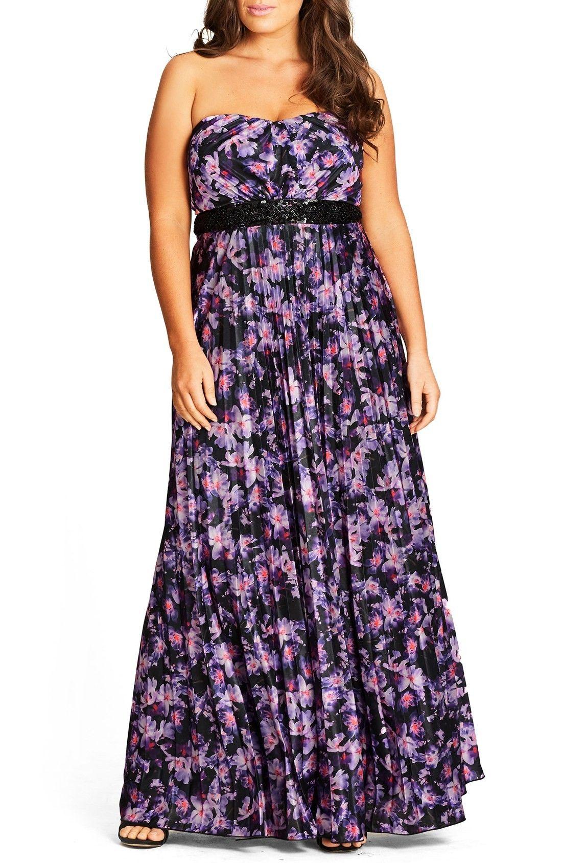Shop City Chic Helena Print Strapless Maxi Dress (plus Size) at ...