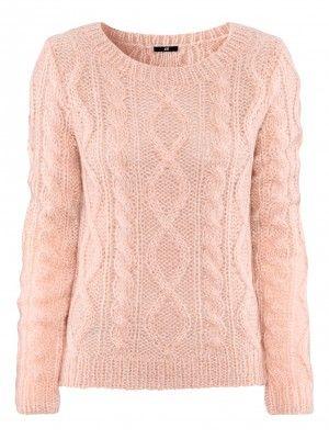 pink chunky sweater