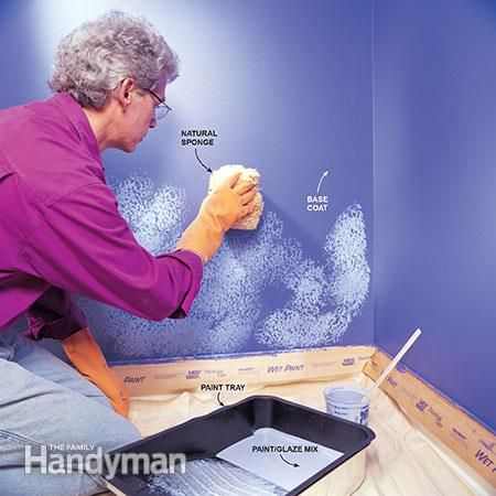 How To Sponge Paint A Wall Paint Sponge Painting Walls Diy Wall