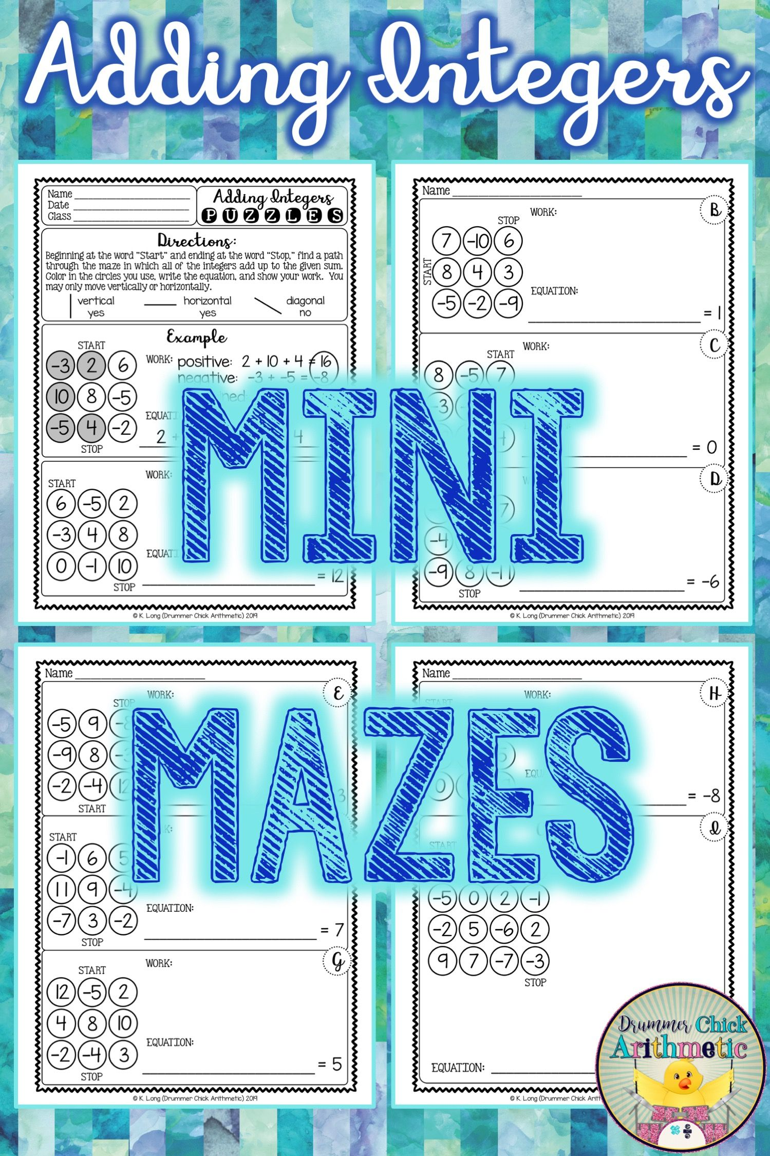Adding Integers Mazes In